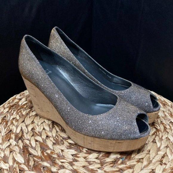 Stuart Weitzman wedge heels glitter